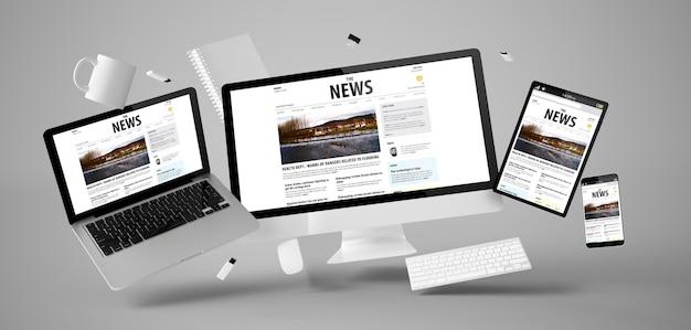 Coisas de escritório e dispositivos flutuando com renderização 3d de sites de notícias