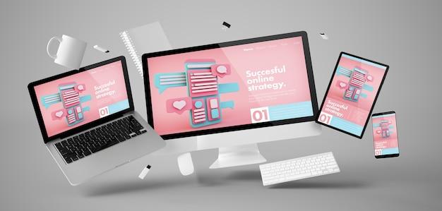 Coisas de escritório e dispositivos flutuando com renderização em 3d do site de marketing online