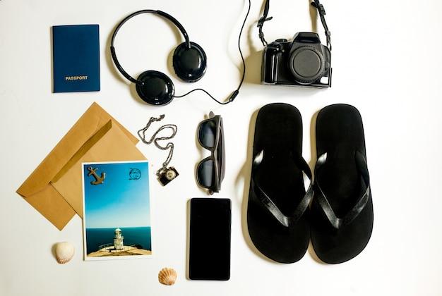 Coisas de viajante plana leigos em branco