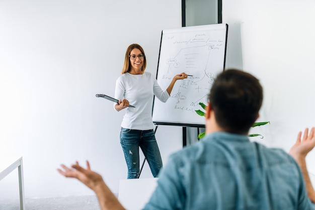 Colaborador fêmea que explica seu código masculino do colega no whiteboard.