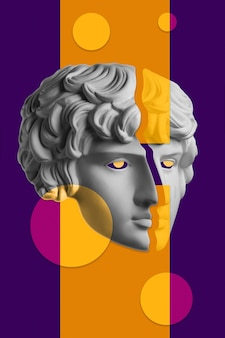 Colagem com escultura de rosto humano em estilo pop art. imagem de conceito criativo moderno com cabeça de estátua antiga. cultura zine. cartaz de arte contemporânea. minimalismo punk funky. design retro surreal.