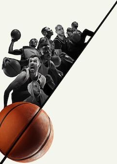 Colagem criativa de diferentes fotos de 4 jogadores de basquete com as bolas em ação do jogo. fotos em preto e branco.