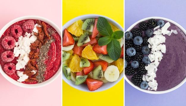 Colagem de alimentos saudáveis. smoothie de tigelas com frutas e salada de frutas no fundo colorido. vista do topo.