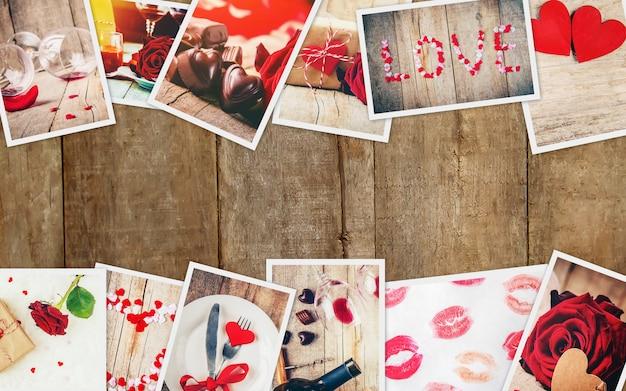 Colagem de amor e romance. foco seletivo.