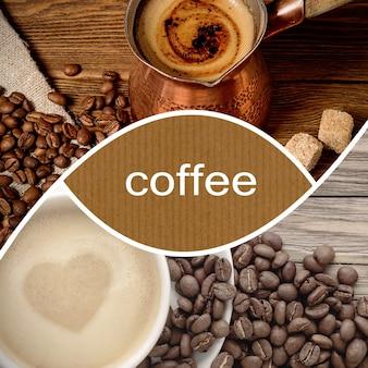 Colagem de café com café turco, feijão e xícara de cappuccino