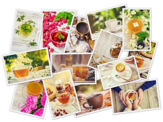 Colagem de chá. foco seletivo. comida e bebida.