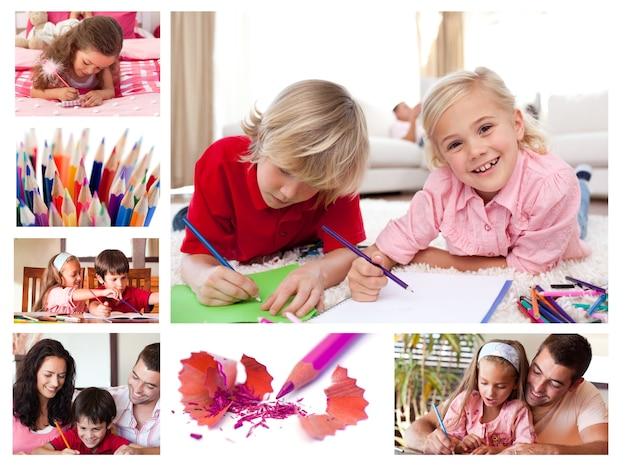 Colagem de colorir crianças