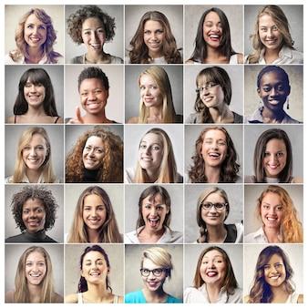 Colagem, de, diferente, mulheres
