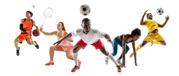 Colagem de diferentes desportistas profissionais, homens e mulheres em ação e movimento isolado no fundo branco. composto por 4 modelos. conceito de esporte, conquistas, competição, campeonato.