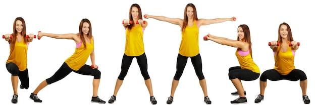 Colagem de diferentes exercícios de fitness isolados em um fundo branco