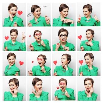 Colagem de diferentes expressões faciais de mulher.