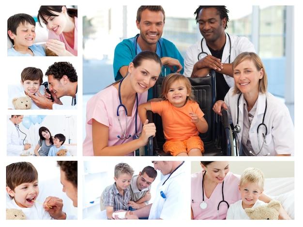 Colagem de diferentes situações médicas