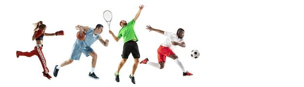 Colagem de esportes de atletas profissionais ou jogadores isolados na parede branca, panfleto