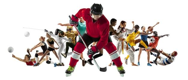 Colagem de esportes de atletas profissionais ou jogadores isolados no fundo branco, panfleto