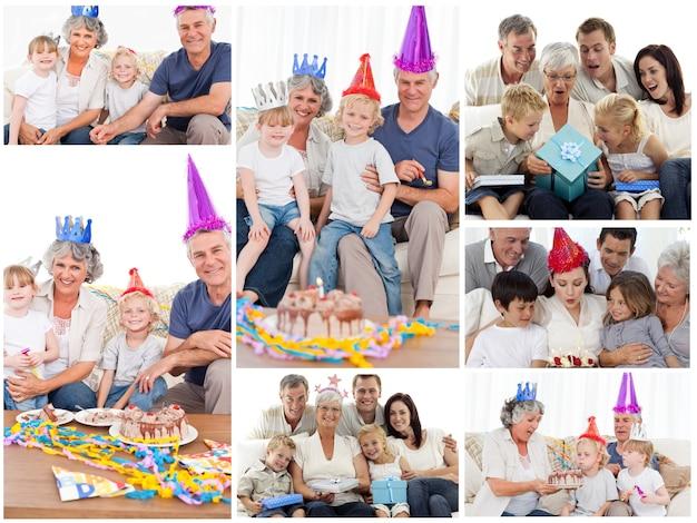 Colagem, de, famílias, desfrutando, celebração, momentos, junto, em, hom