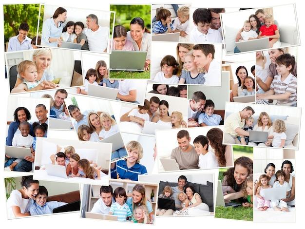 Colagem de famílias que surfa em seu laptop