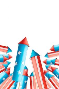 Colagem de fotos abstratas sobre o banner de comemoração do dia da independência americana com foguetes de fogos de artifício, feitos no estilo da bandeira americana