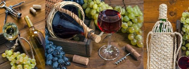 Colagem de fotos com vinho tinto e branco com uvas maduras em fundo de madeira. estilo rústico.