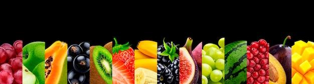 Colagem de frutas isoladas em preto com copyspace