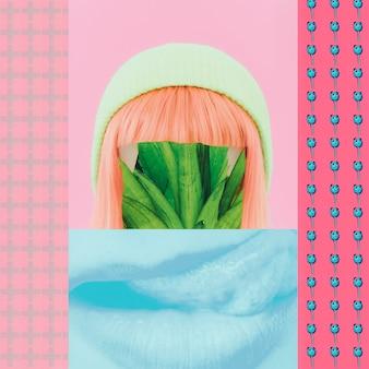 Colagem de moda de lixo. pandas, planta, menina, lábios