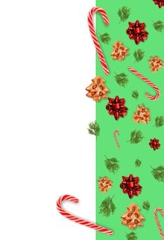 Colagem de natal moderno. fundo sem emenda verde. decoração de sobremesa de férias de inverno.