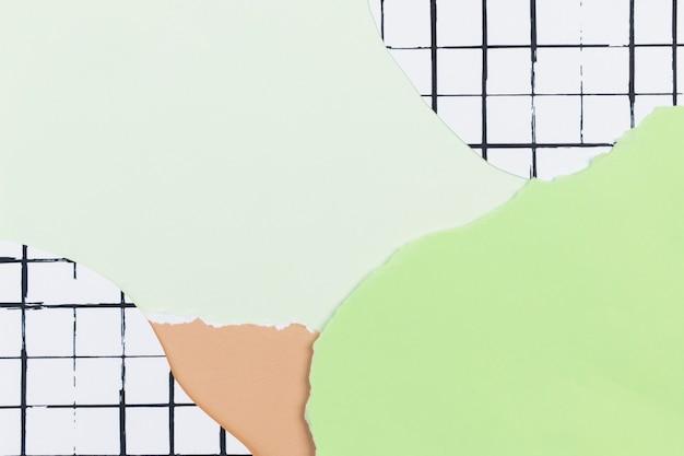 Colagem de papel verde no fundo do padrão de grade