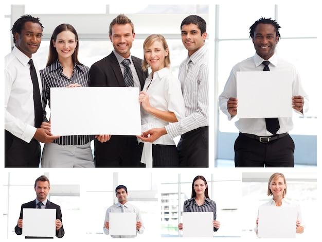 Colagem, de, pessoas negócio, segurando, sinais