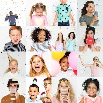 Colagem, de, pessoas, sorrindo, alegre, felicidade, rosto, expressão