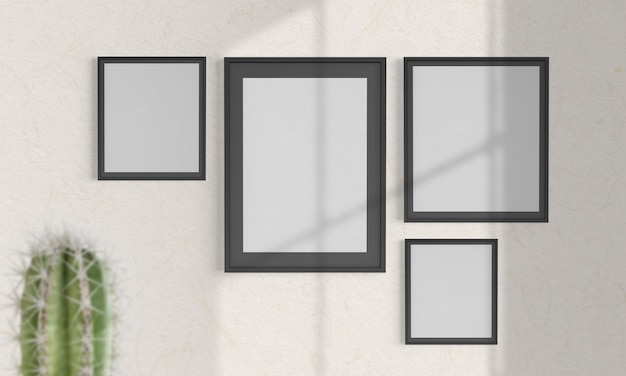 Colagem de quadros em uma maquete de parede riscada renderização em 3d