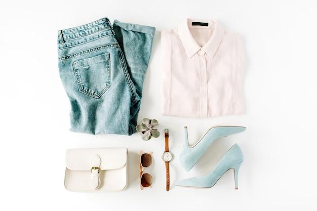 Colagem de roupas da moda feminina em branco