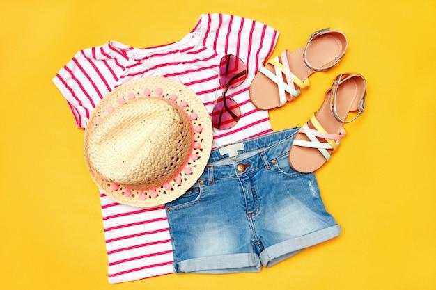 Colagem de roupas de verão mulher menina