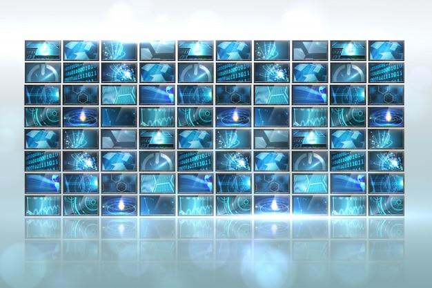 Colagem de tela gerada digitalmente mostrando imagens de computação