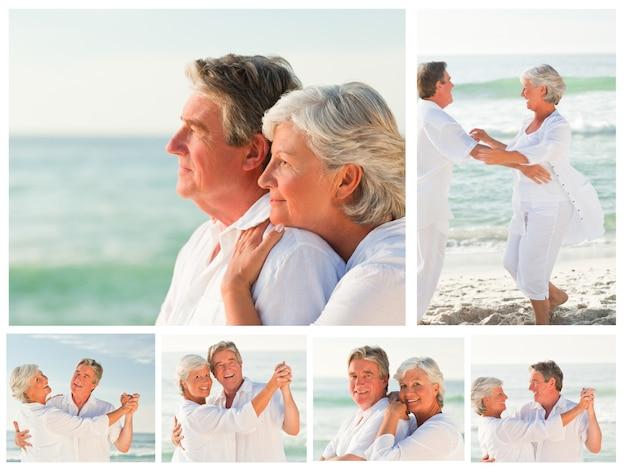 Colagem de um casal de idosos compartilhando bons momentos juntos em uma praia