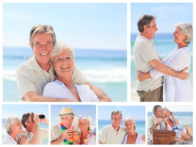 Colagem de um casal de idosos curtindo momentos em uma praia