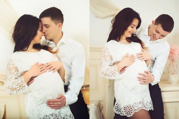 Colagem de um casal grávida