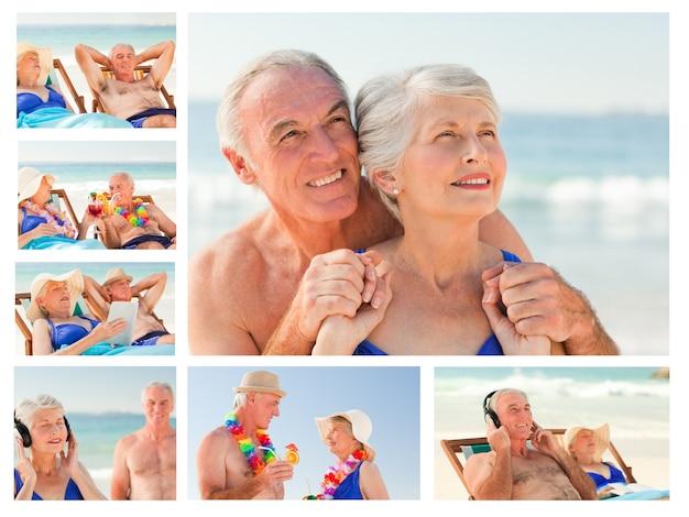 Colagem de um casal idoso passando tempo juntos em uma praia
