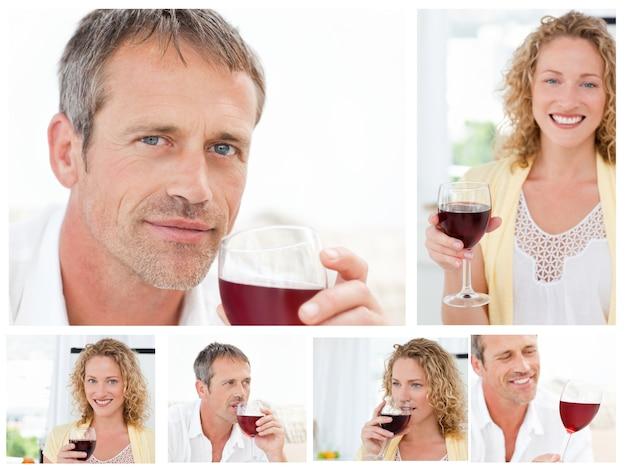 Colagem de um homem e uma mulher segurando um copo de vinho tinto na sala de estar