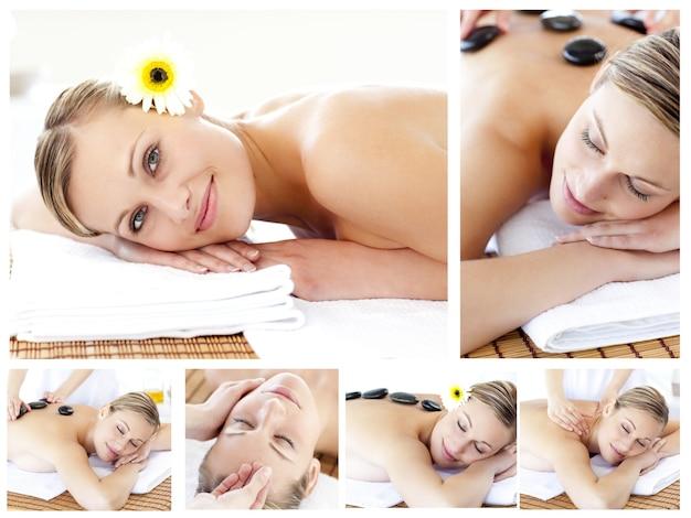 Colagem de uma jovem atraente sendo massageada