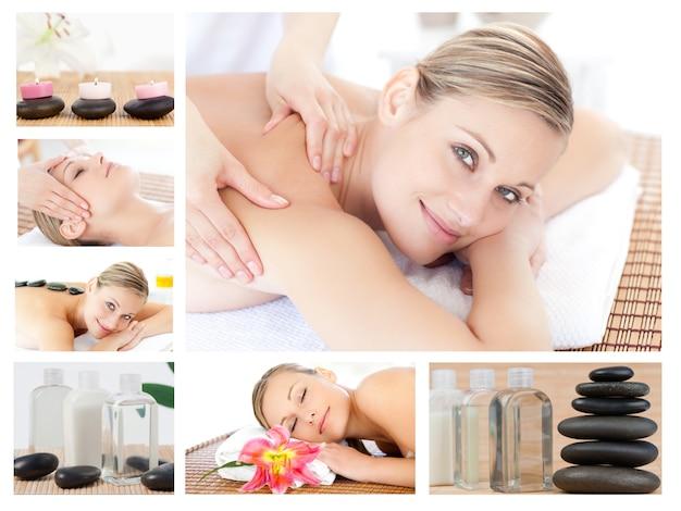 Colagem de uma linda mulher loira recebendo uma massagem