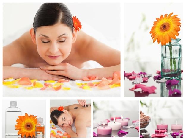 Colagem de uma linda mulher relaxante ao receber uma massagem