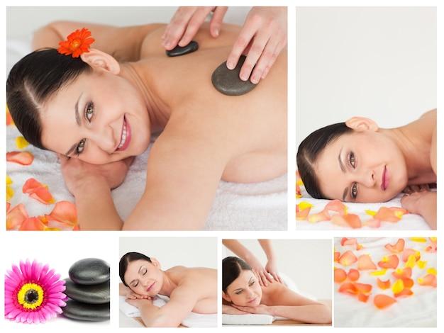 Colagem de uma mulher com uma massagem de pedra em um spa