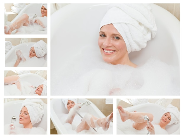 Colagem de uma mulher fofa tomando um banho