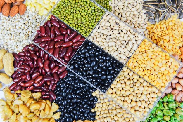 Colagem de vários feijões misture agricultura de ervilhas de alimentos saudáveis naturais para cozinhar ingredientes