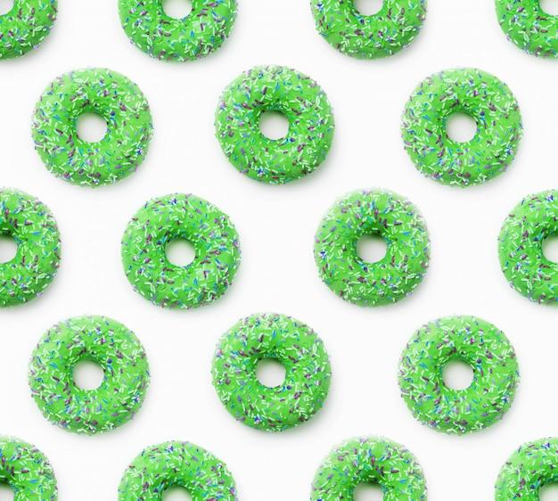 Colagem, de, verde, donuts, em, esmalte