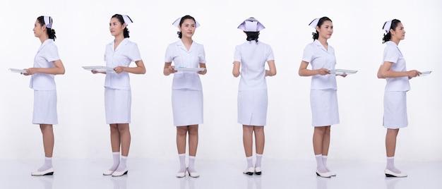 Colagem grupo comprimento total figura snap de 20 anos mulher asiática usar enfermeira saia uniforme branco e sapatos. bandeja de retenção fêmea e gira 360 em torno da vista traseira do lado traseiro sobre o fundo branco isolado