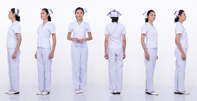 Colagem grupo comprimento total figura snap de 20 anos mulher asiática usar enfermeira uniformes calças e sapatos brancos. posição feminina e gira 360 em torno da vista traseira do lado traseiro sobre o fundo branco isolado