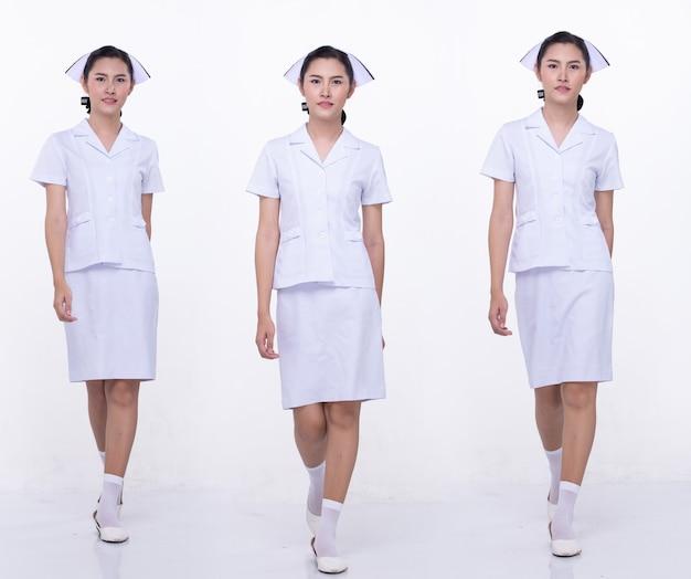 Colagem grupo comprimento total figura snap dos anos 20 mulher asiática usa uniforme e sapatos brancos da enfermeira. caminhada feminina muitos estilo sobre fundo branco isolado