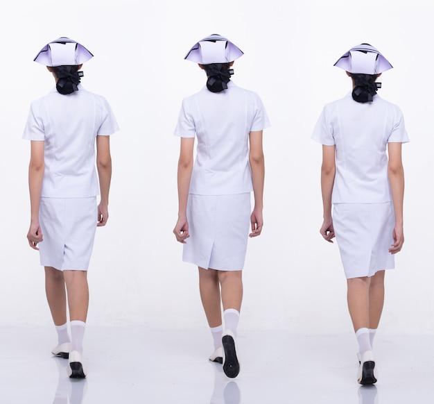 Colagem grupo comprimento total figura snap dos anos 20 mulher asiática usa uniforme e sapatos brancos da enfermeira. caminhada feminina muitos estilos sobre fundo branco isolado