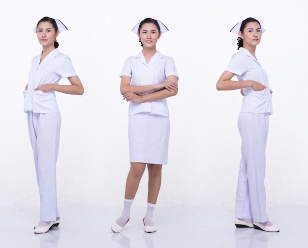 Colagem grupo comprimento total figura snap dos anos 20 mulher asiática usar enfermeira uniforme branco saia calça e sapatos. posição feminina e poses sobre fundo branco isolado