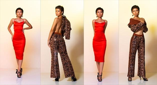 Colagem grupo pacote de comprimento total da moda jovem pele bronzeada magro mulher asiática cabelos curtos desgaste vestido vermelho e calças de jaqueta de padrão de pele de tigre leopardo, stand sexy poses de salto alto. fundo amarelo do estúdio